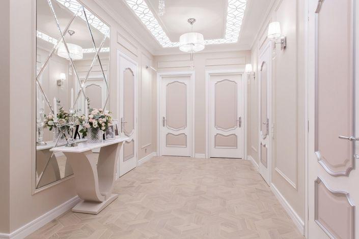 Интерьерное фото коридора в пастельных тонах авторский дизайн