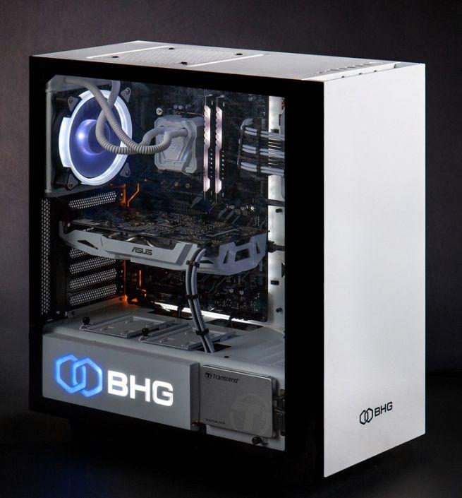 белый корпус игрового компьютера на черном фоне