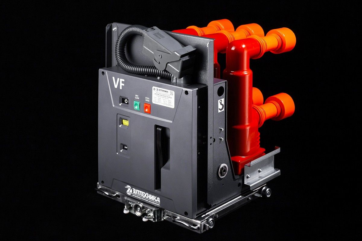 Вакуумный выключатель VF12 на черном фоне